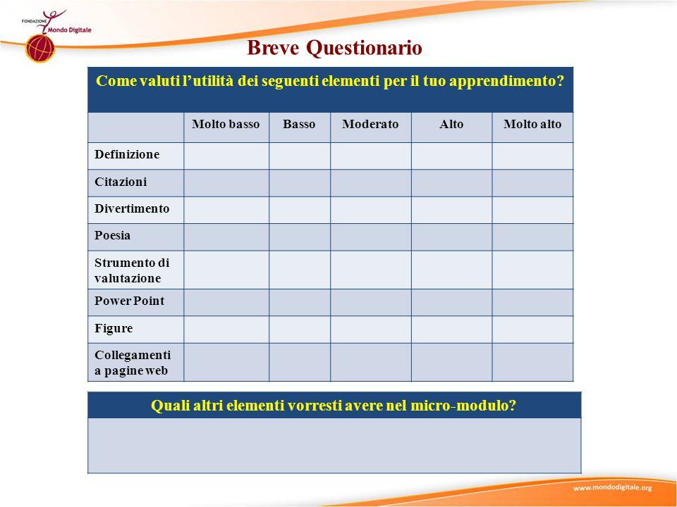 Breve Questionario Come valuti l'utilità dei seguenti elementi per il tuo apprendimento Molto basso.