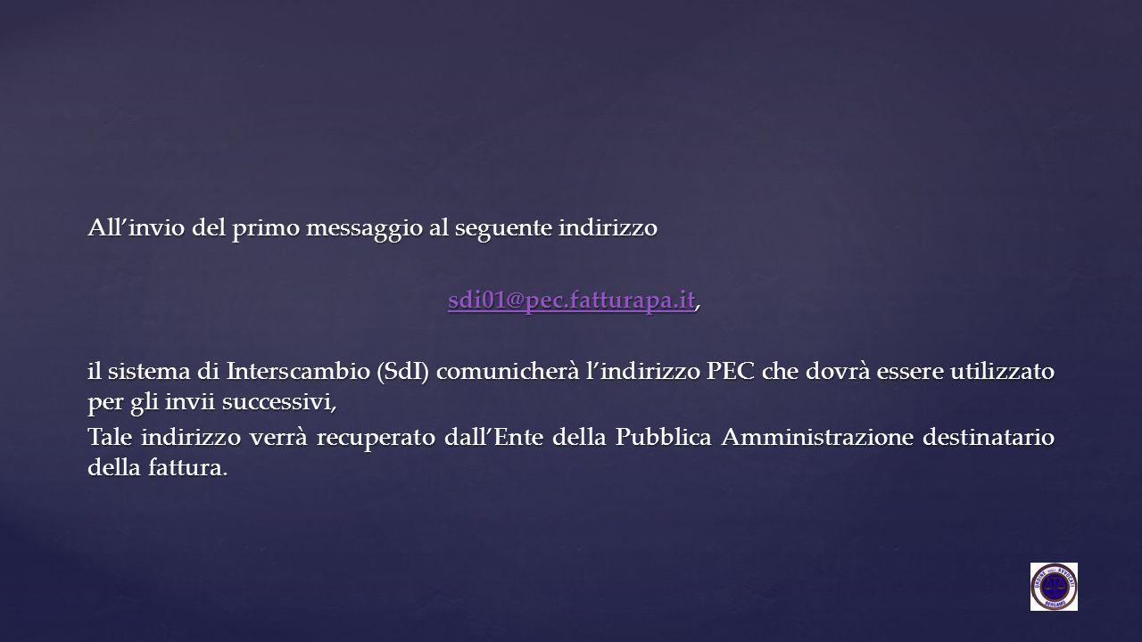 All'invio del primo messaggio al seguente indirizzo sdi01@pec