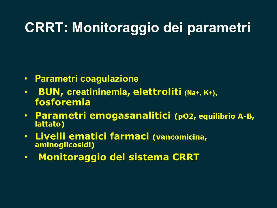 CRRT: Monitoraggio dei parametri