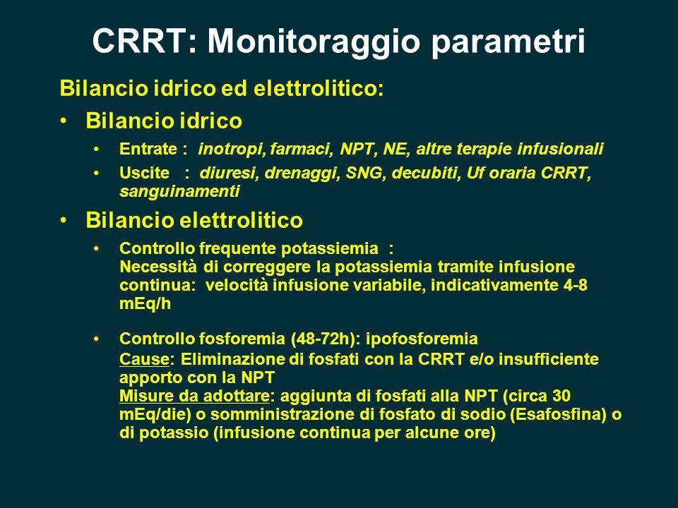 CRRT: Monitoraggio parametri