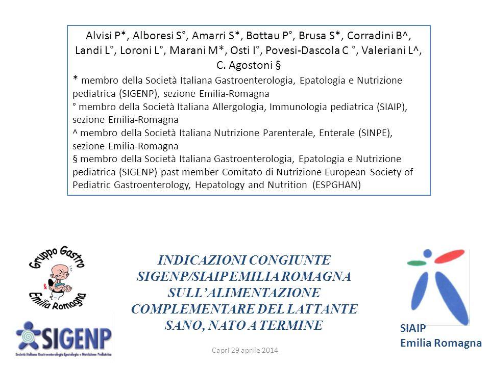INDICAZIONI CONGIUNTE SIGENP/SIAIP EMILIA ROMAGNA