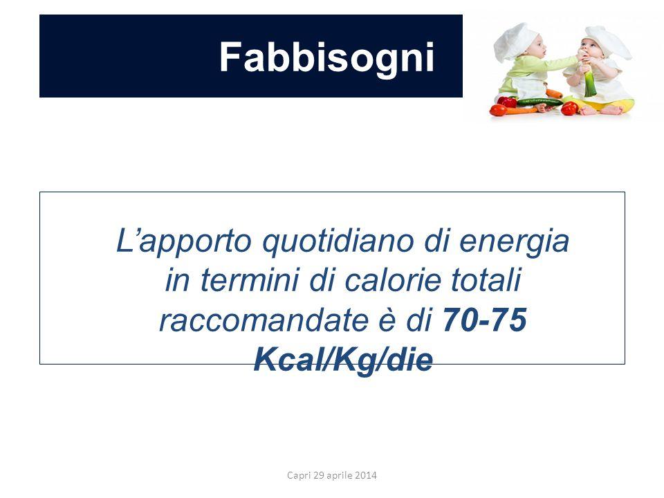 Fabbisogni L'apporto quotidiano di energia in termini di calorie totali raccomandate è di 70-75 Kcal/Kg/die.