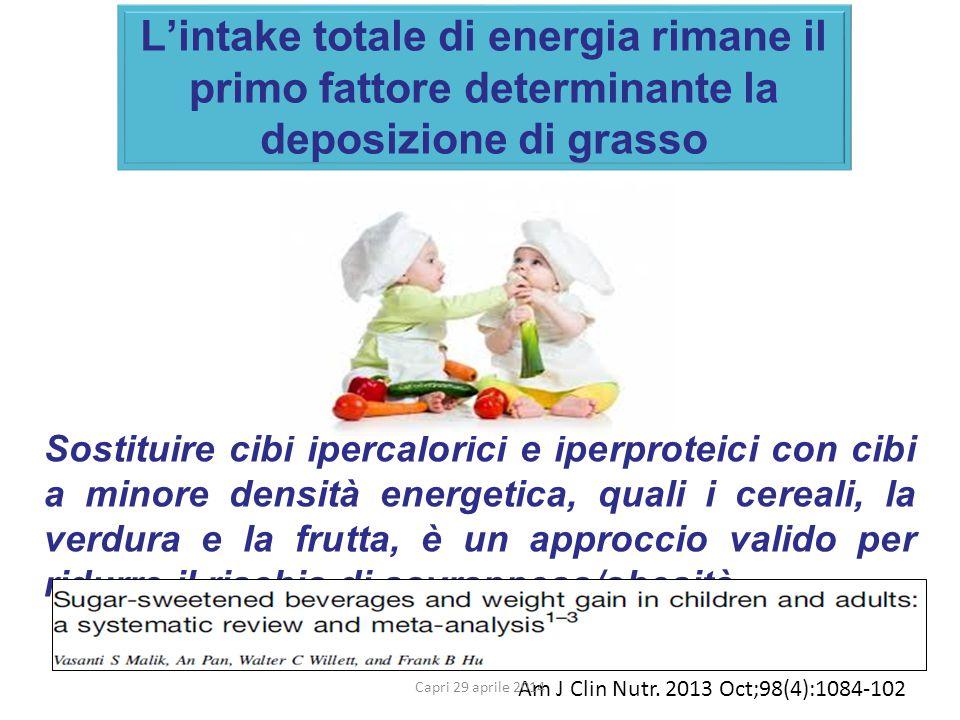 L'intake totale di energia rimane il primo fattore determinante la deposizione di grasso