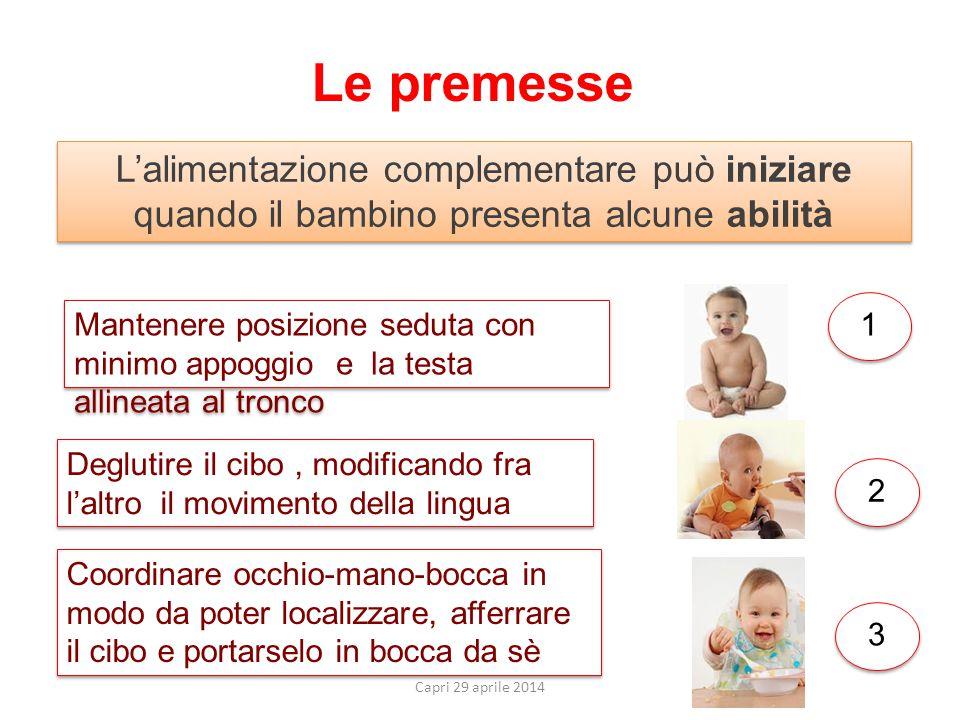 Le premesse L'alimentazione complementare può iniziare quando il bambino presenta alcune abilità.