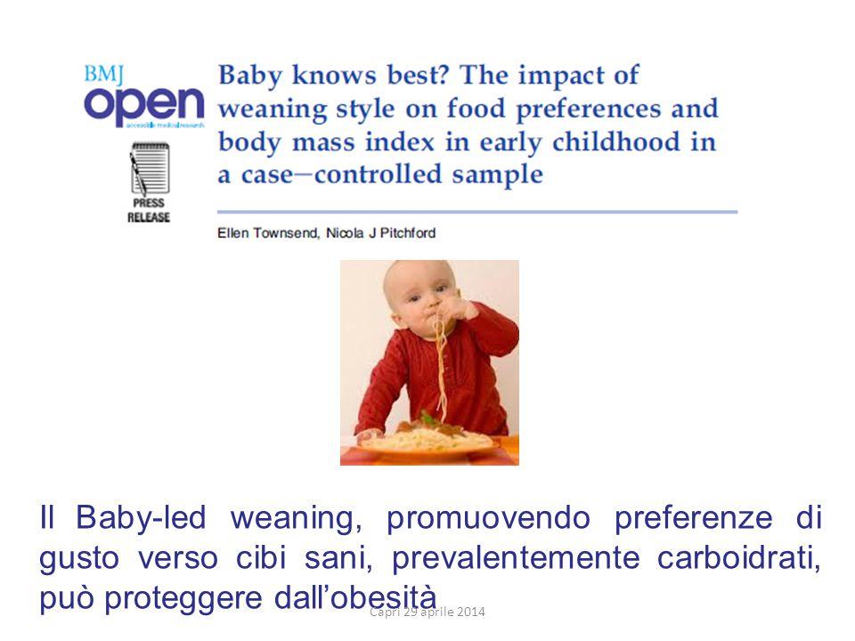 Il Baby-led weaning, promuovendo preferenze di gusto verso cibi sani, prevalentemente carboidrati, può proteggere dall'obesità