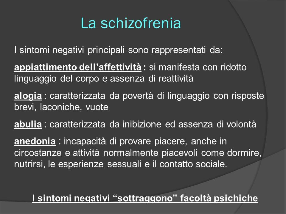 I sintomi negativi sottraggono facoltà psichiche
