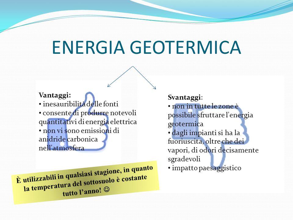 ENERGIA GEOTERMICA Vantaggi: Svantaggi: inesauribilità delle fonti