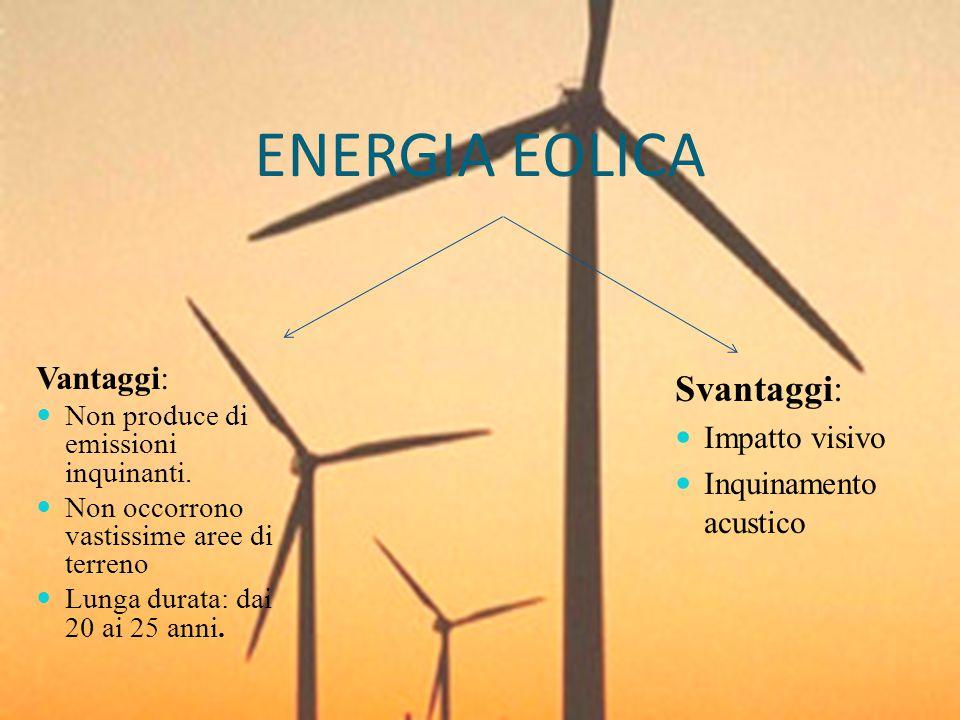 ENERGIA EOLICA Svantaggi: Vantaggi: Impatto visivo
