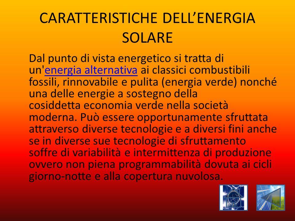 CARATTERISTICHE DELL'ENERGIA SOLARE