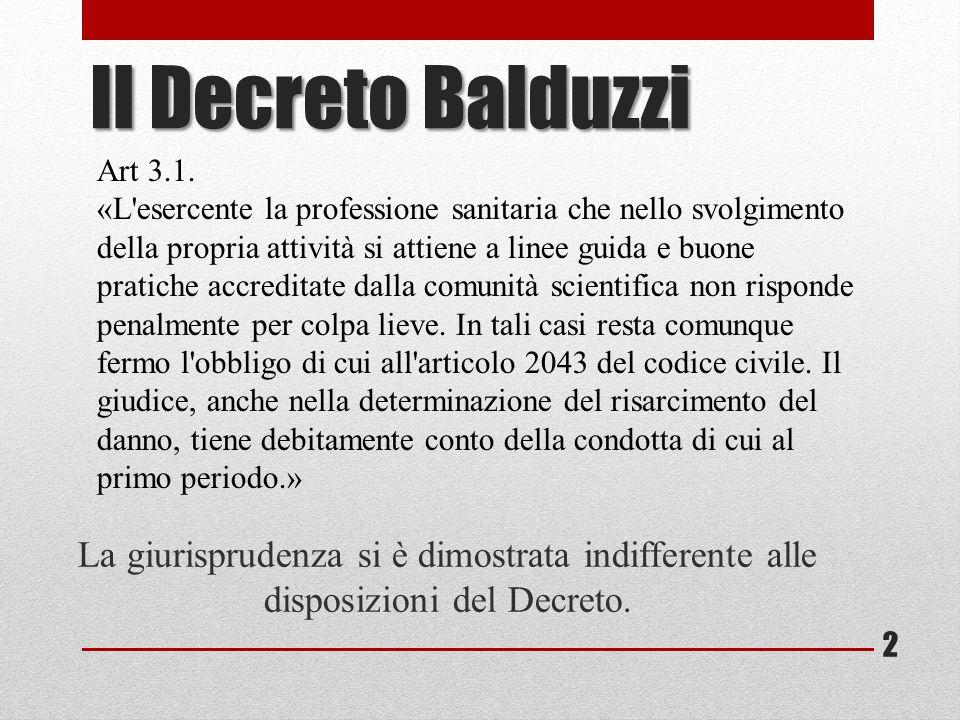 Il Decreto Balduzzi Art 3.1.
