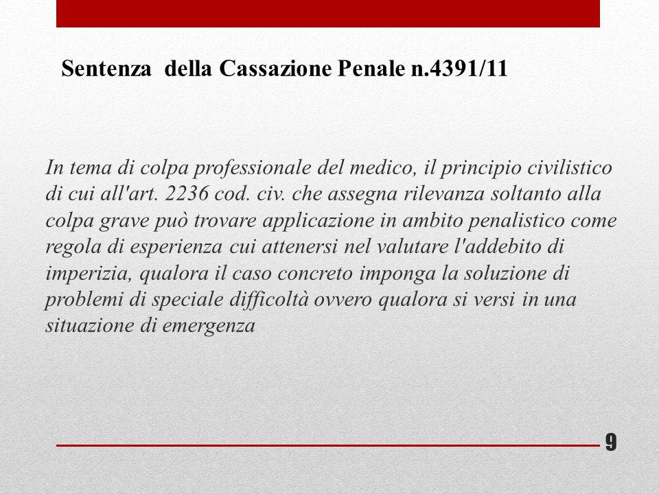 Sentenza della Cassazione Penale n.4391/11
