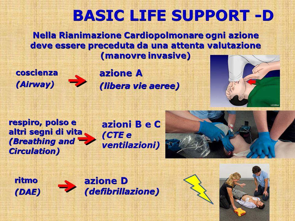 BASIC LIFE SUPPORT -D azione A azioni B e C (CTE e ventilazioni)