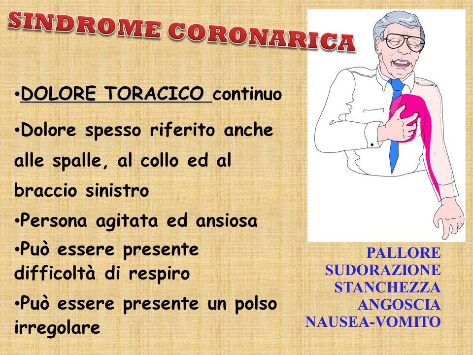 SINDROME CORONARICA DOLORE TORACICO continuo