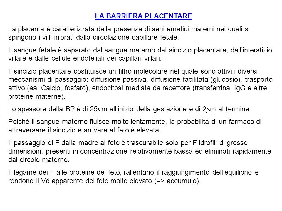 LA BARRIERA PLACENTARE