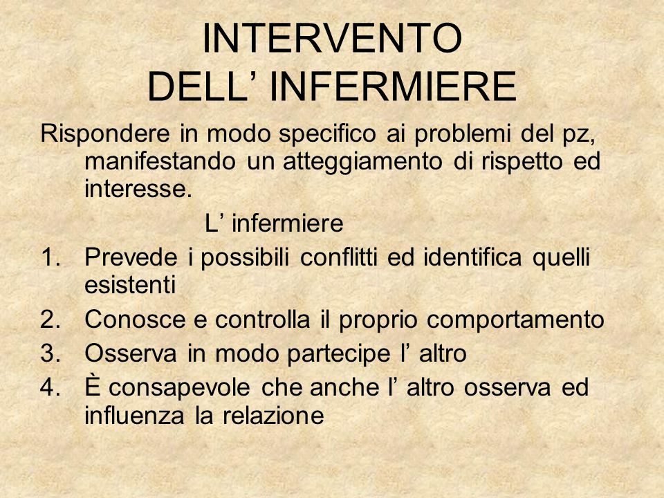 INTERVENTO DELL' INFERMIERE