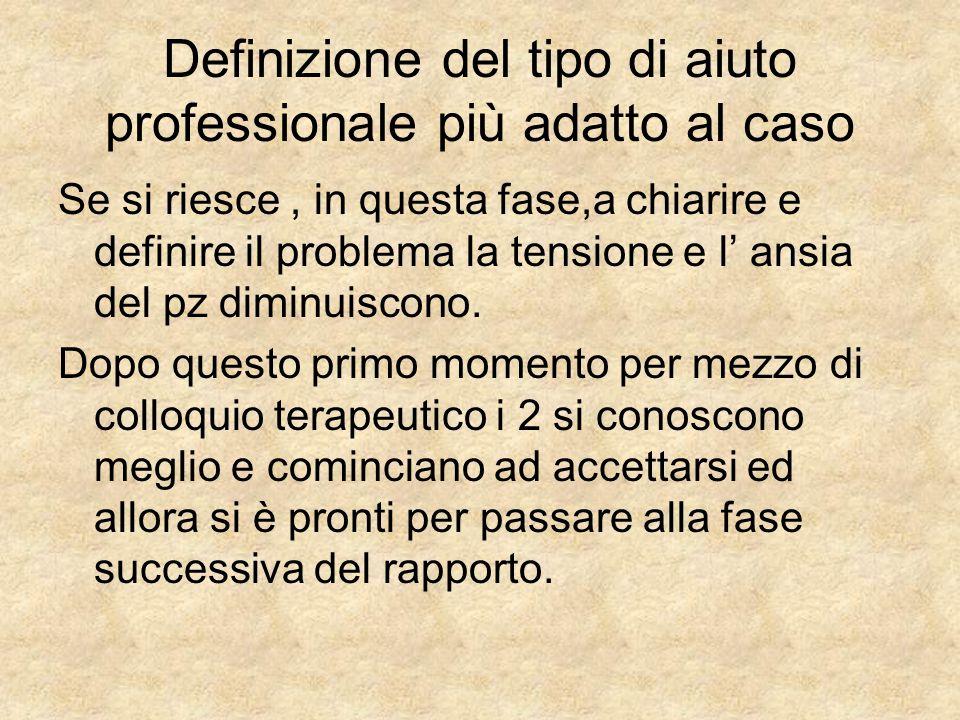 Definizione del tipo di aiuto professionale più adatto al caso