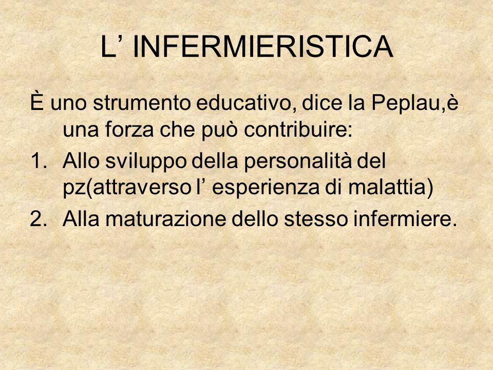 L' INFERMIERISTICA È uno strumento educativo, dice la Peplau,è una forza che può contribuire: