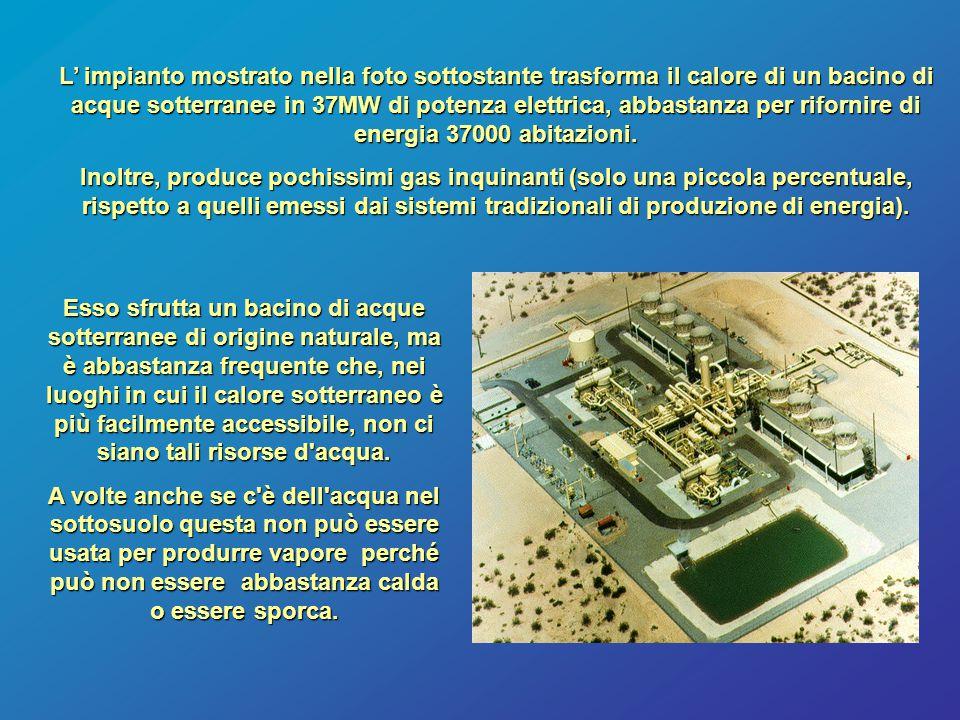 L' impianto mostrato nella foto sottostante trasforma il calore di un bacino di acque sotterranee in 37MW di potenza elettrica, abbastanza per rifornire di energia 37000 abitazioni.