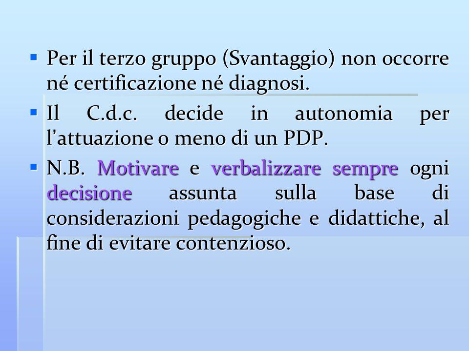 Per il terzo gruppo (Svantaggio) non occorre né certificazione né diagnosi.