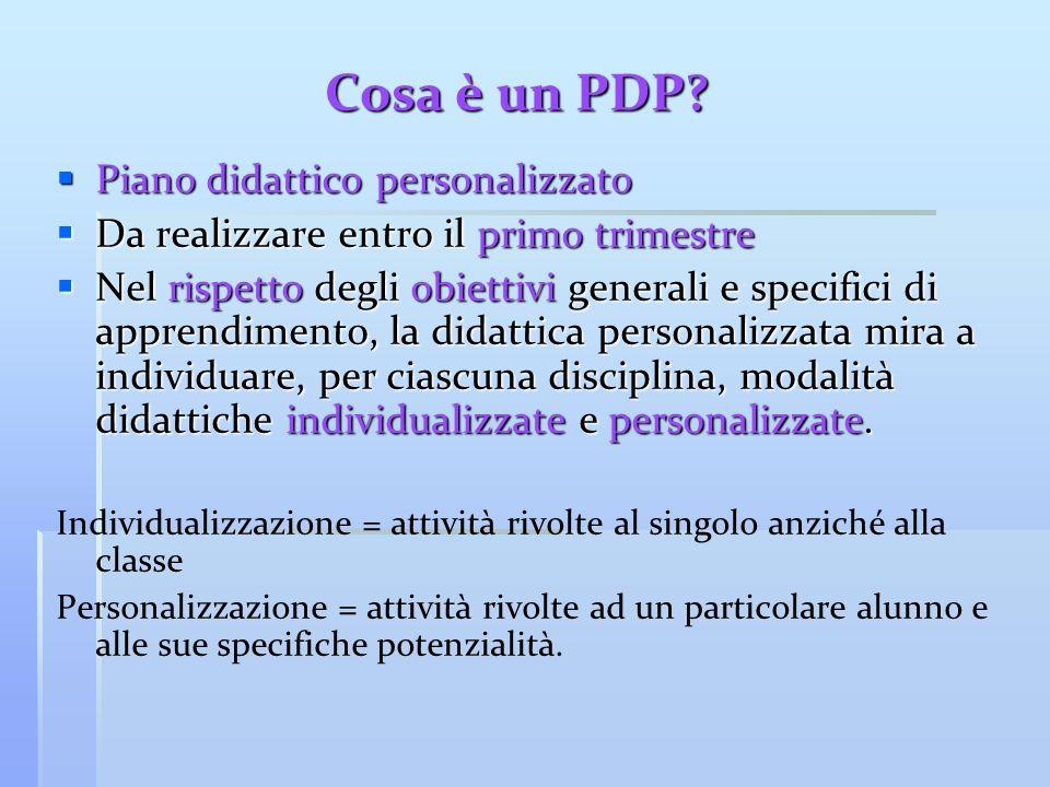 Cosa è un PDP Piano didattico personalizzato
