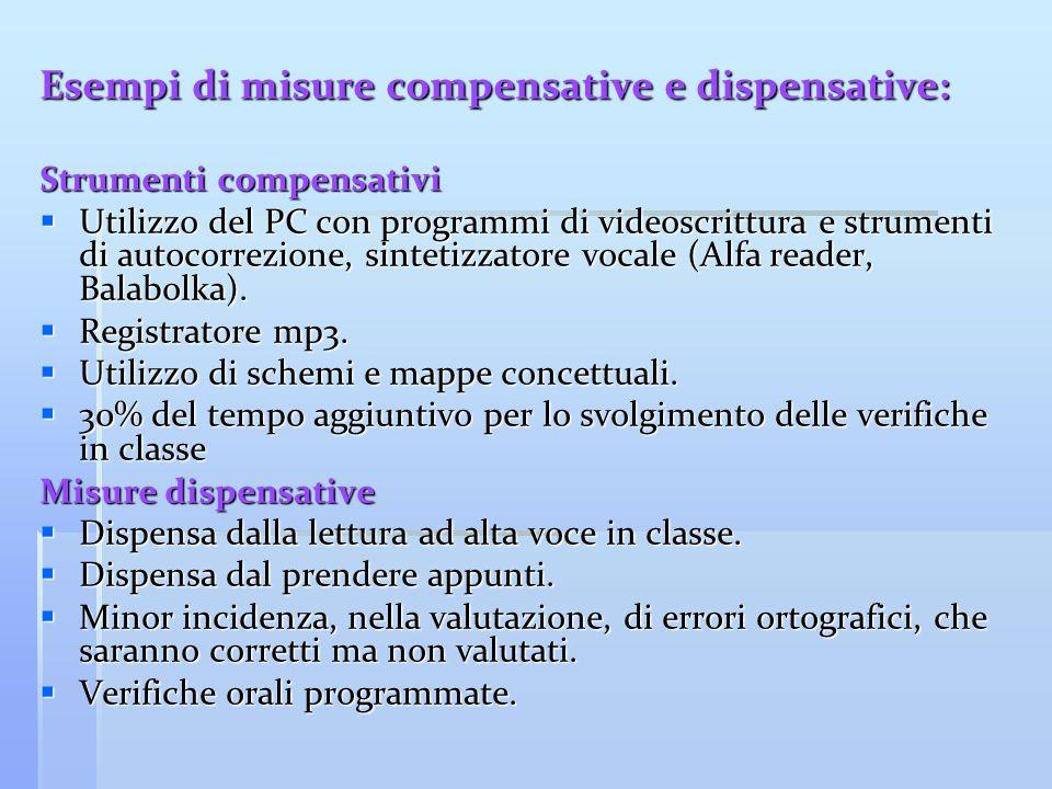 Esempi di misure compensative e dispensative: