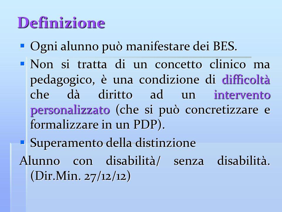 Definizione Ogni alunno può manifestare dei BES.