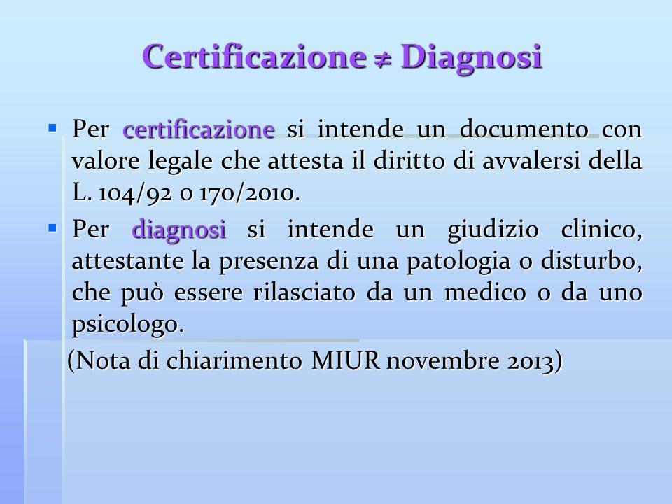Certificazione ≠ Diagnosi