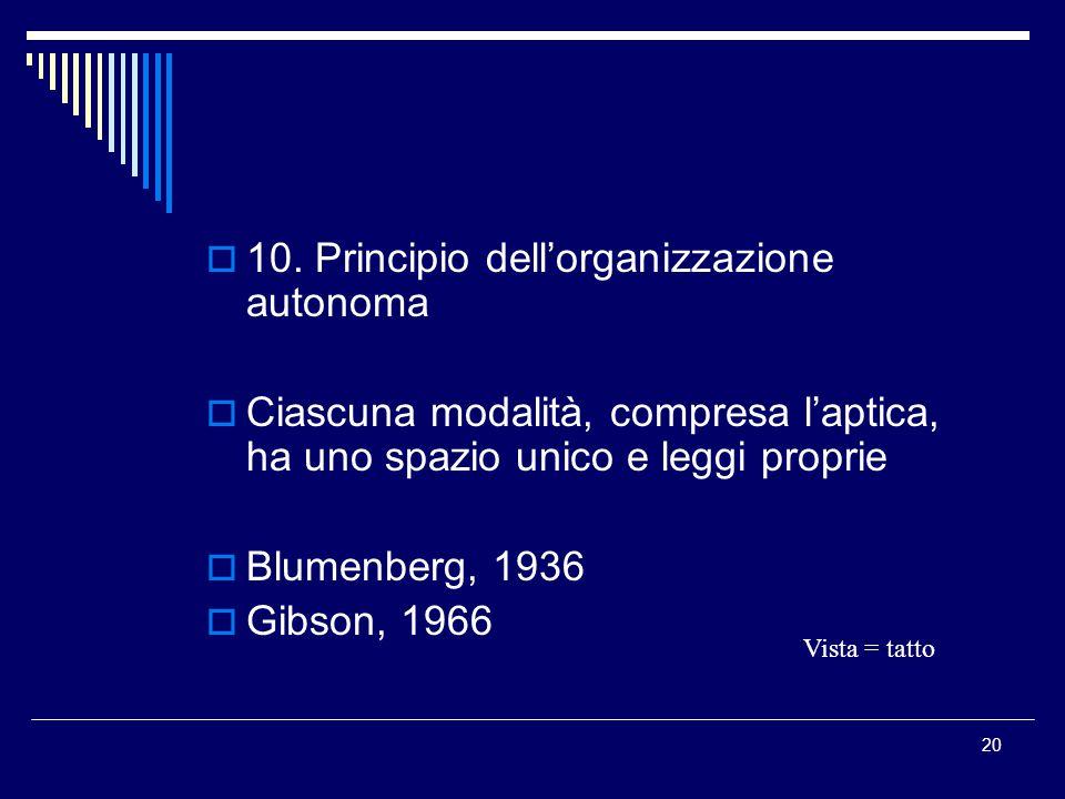 10. Principio dell'organizzazione autonoma