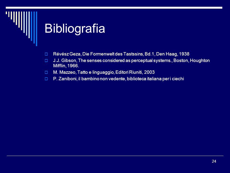 Bibliografia Révész Geza, Die Formenwelt des Tastssins, Bd.1, Den Haag, 1938.