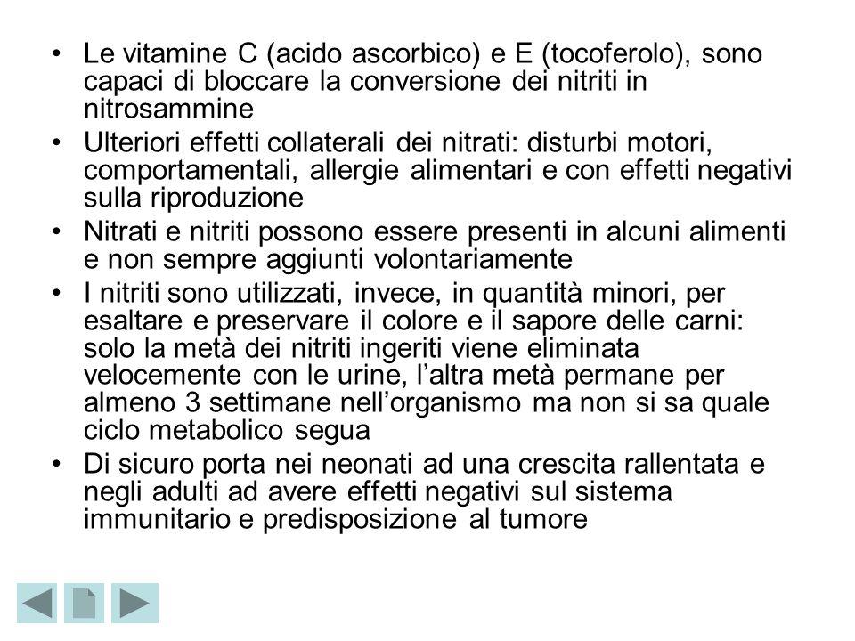Le vitamine C (acido ascorbico) e E (tocoferolo), sono capaci di bloccare la conversione dei nitriti in nitrosammine