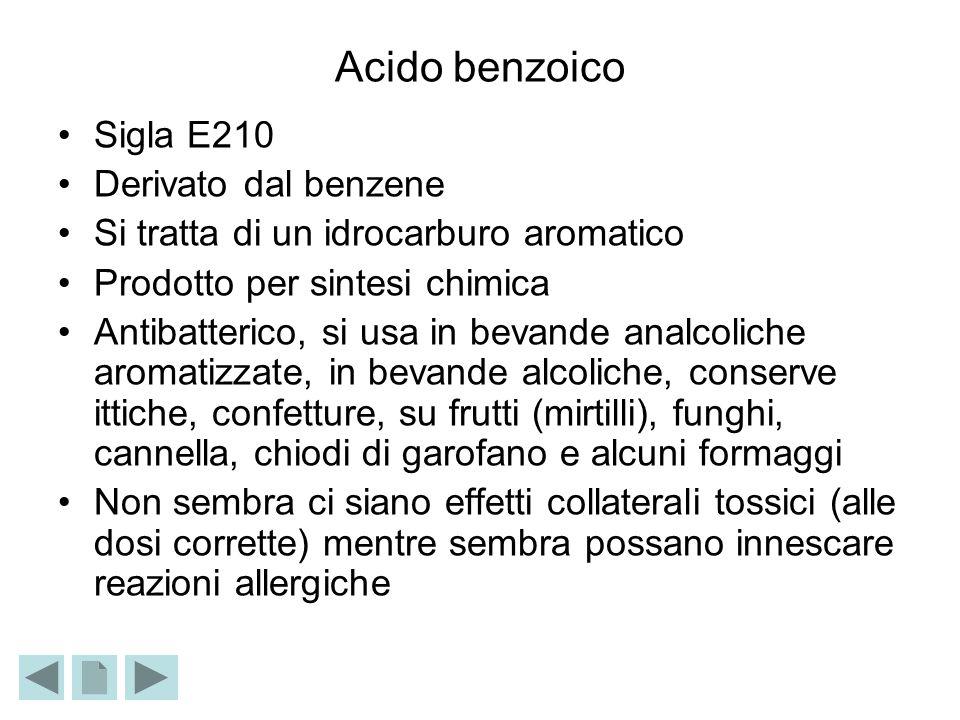 Acido benzoico Sigla E210 Derivato dal benzene