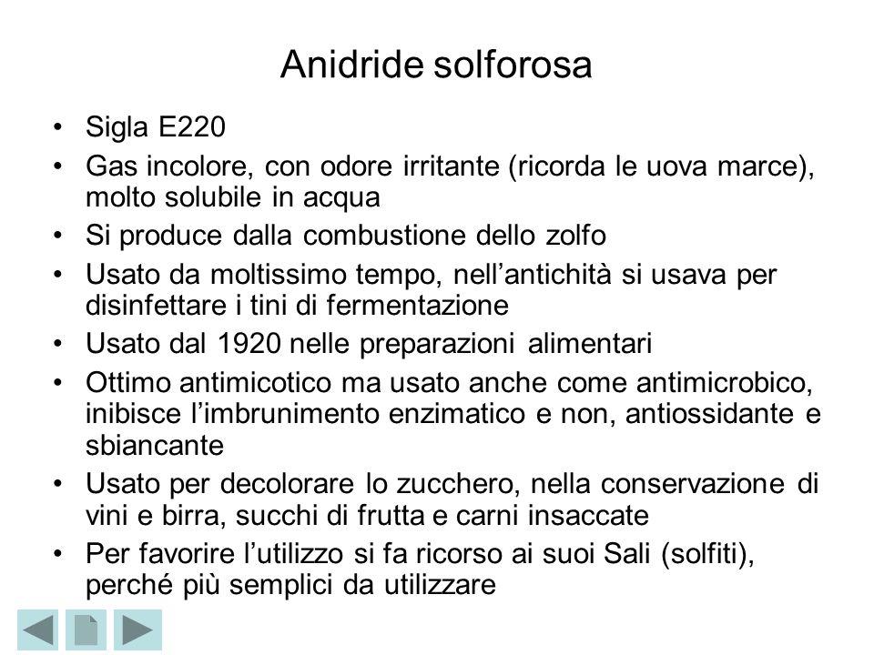 Anidride solforosa Sigla E220