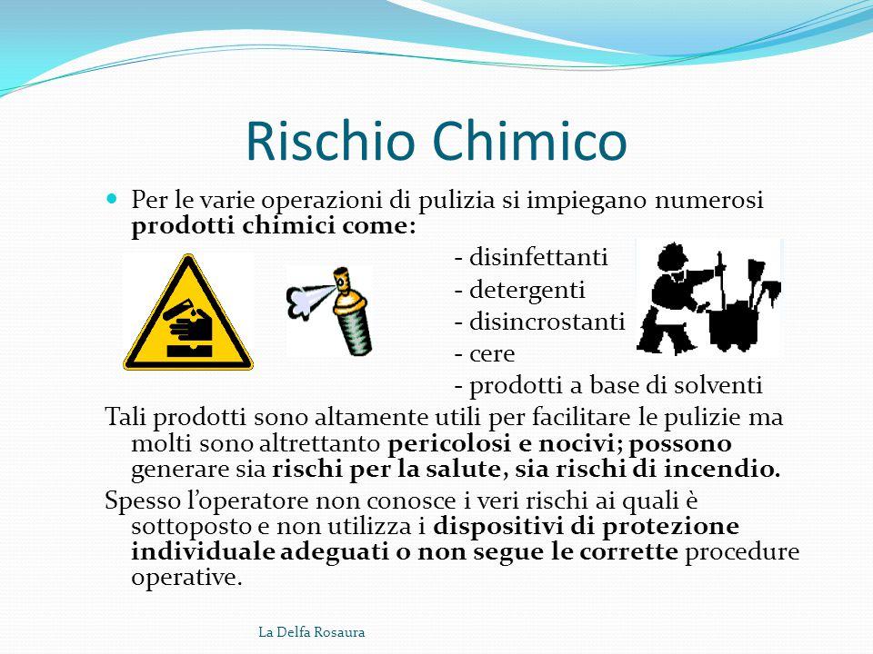 Rischio Chimico Per le varie operazioni di pulizia si impiegano numerosi prodotti chimici come: - disinfettanti.