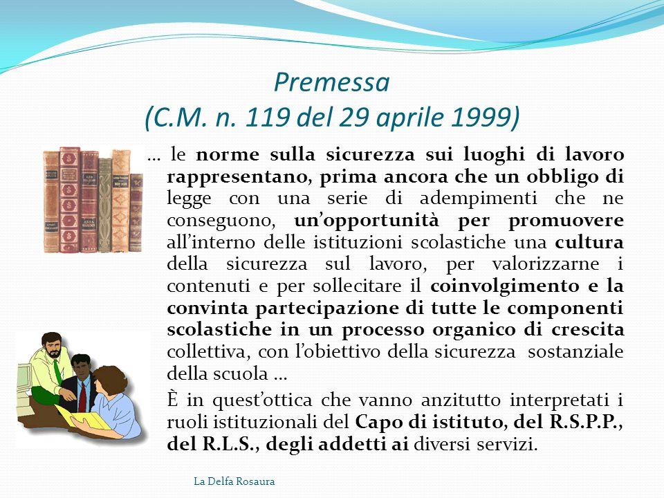 Premessa (C.M. n. 119 del 29 aprile 1999)