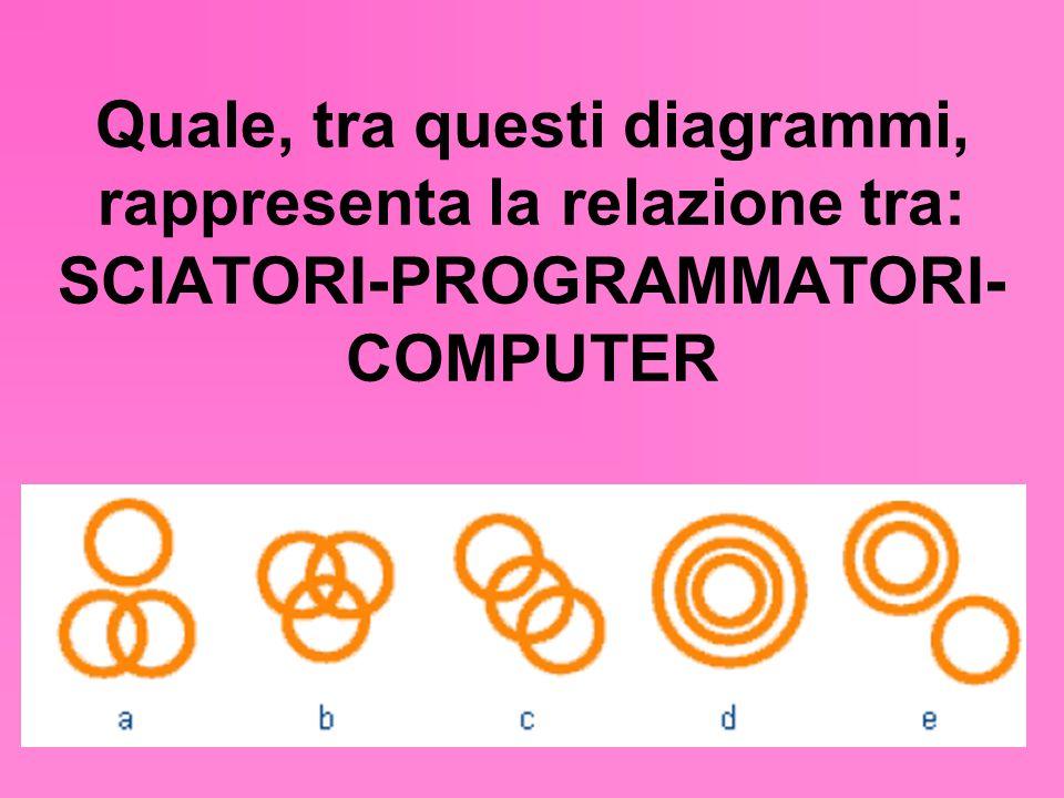 Quale, tra questi diagrammi, rappresenta la relazione tra: SCIATORI-PROGRAMMATORI-COMPUTER