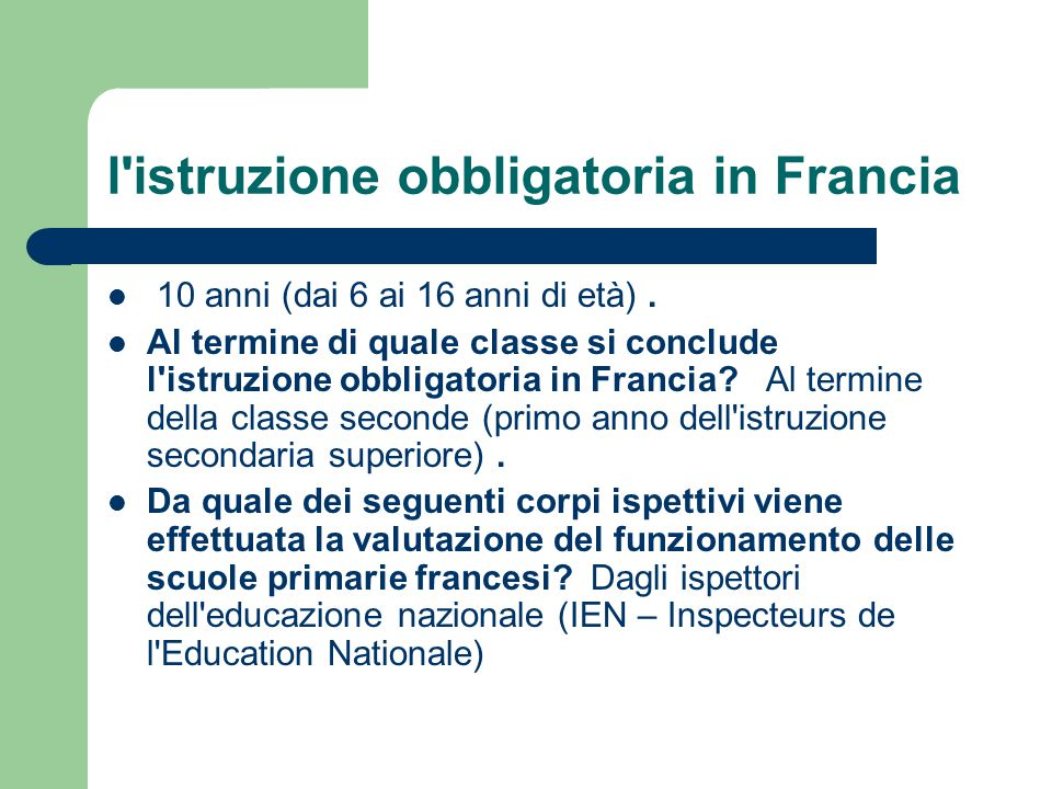 l istruzione obbligatoria in Francia