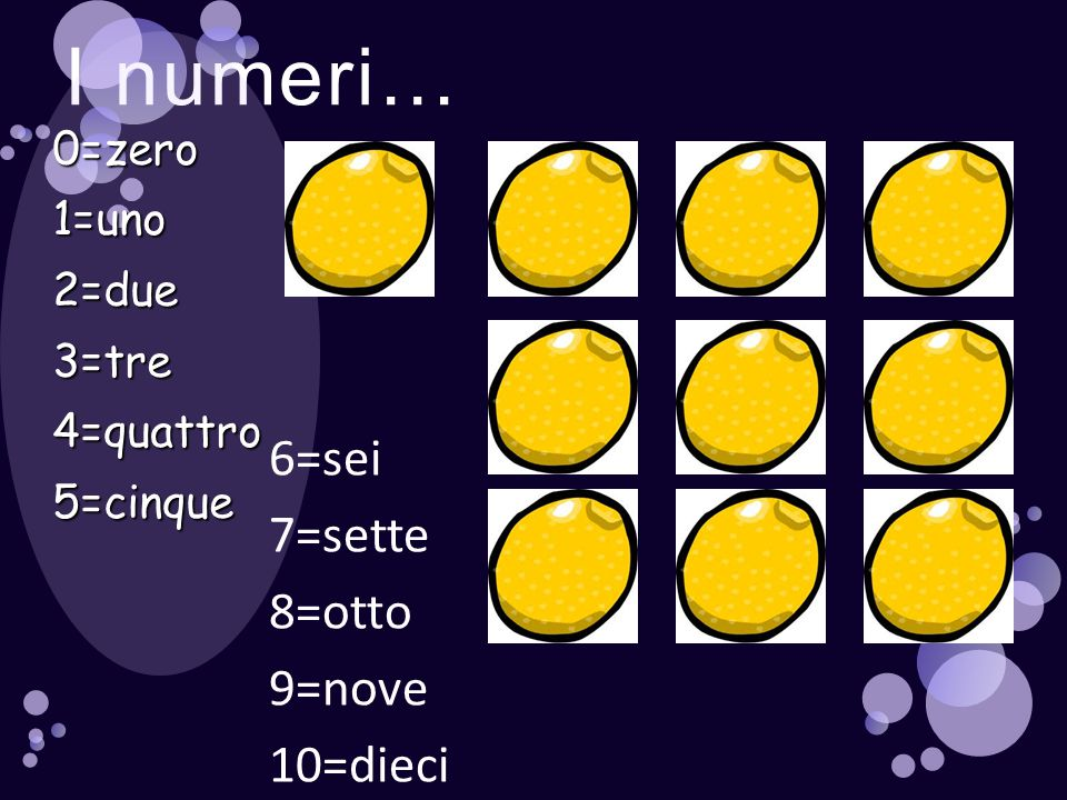 I numeri… 6=sei 7=sette 8=otto 9=nove 10=dieci