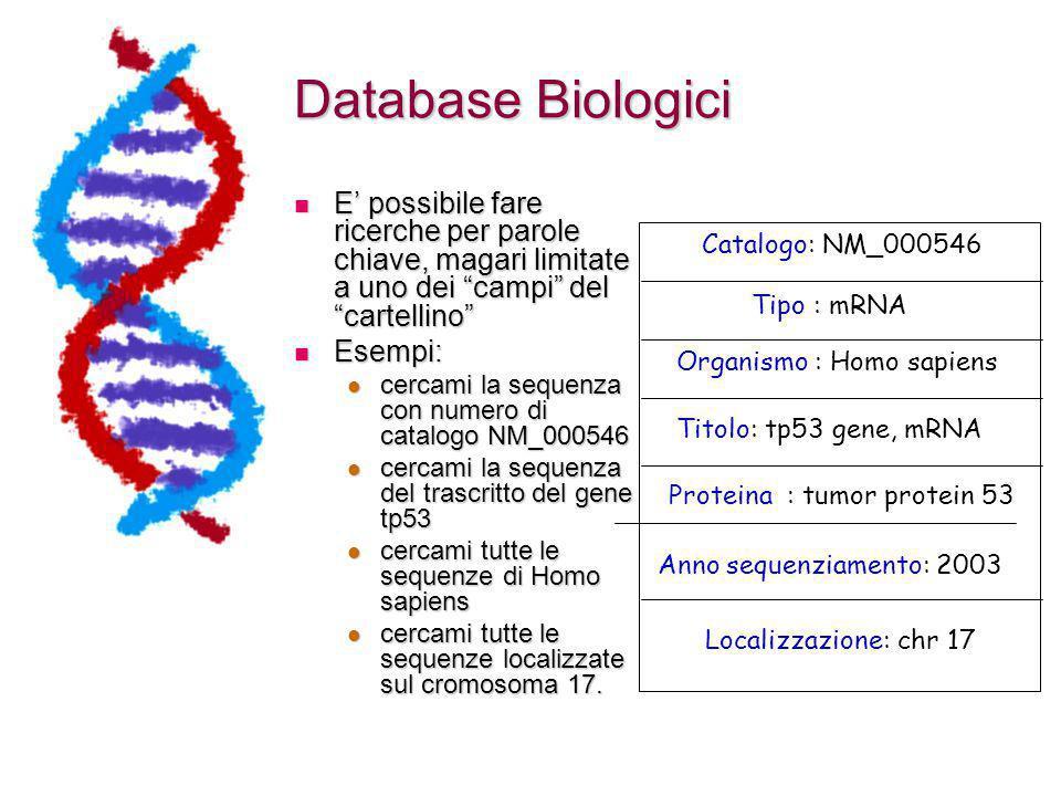 Database Biologici E' possibile fare ricerche per parole chiave, magari limitate a uno dei campi del cartellino
