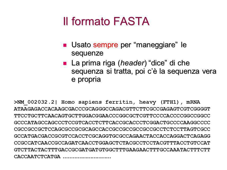 Il formato FASTA Usato sempre per maneggiare le sequenze