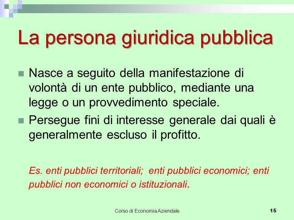 La persona giuridica pubblica