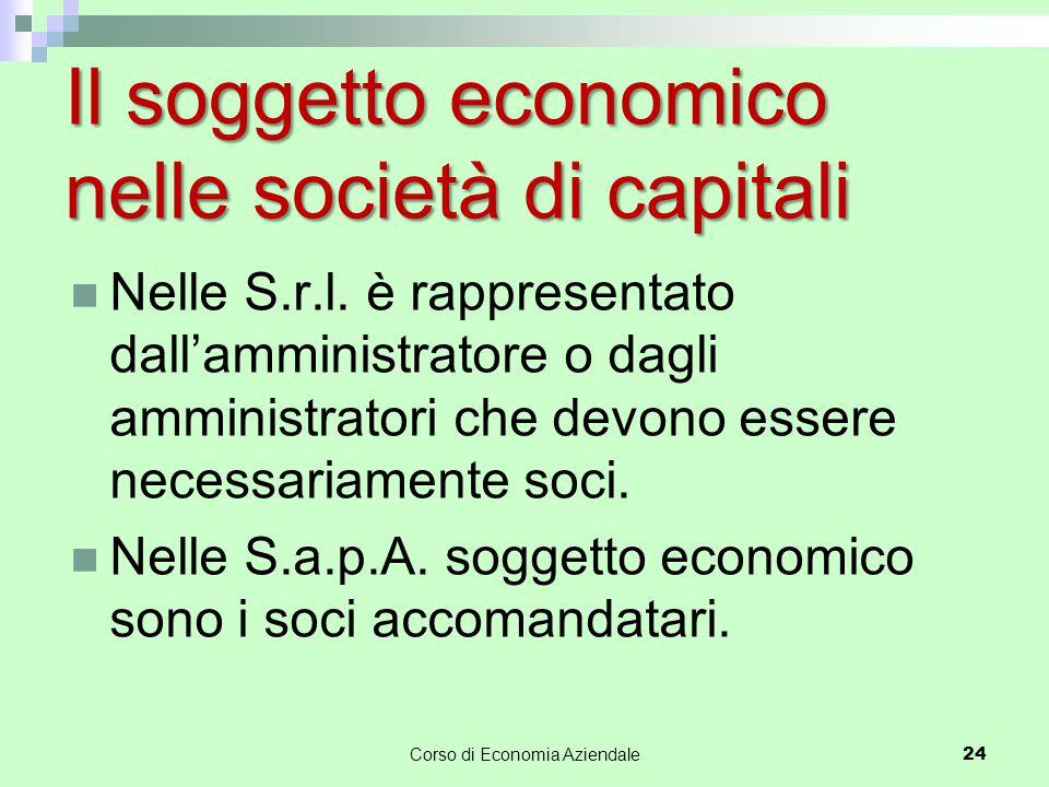 Il soggetto economico nelle società di capitali