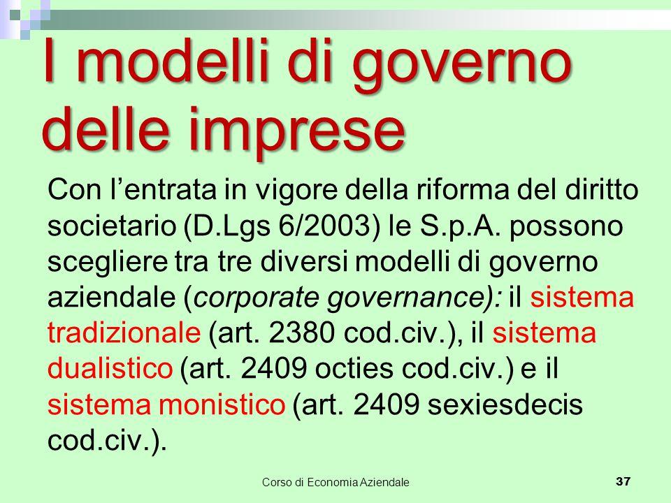 I modelli di governo delle imprese