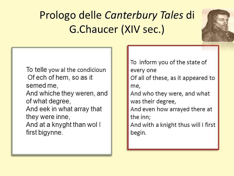 Prologo delle Canterbury Tales di G.Chaucer (XIV sec.)