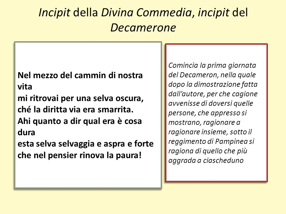 Incipit della Divina Commedia, incipit del Decamerone