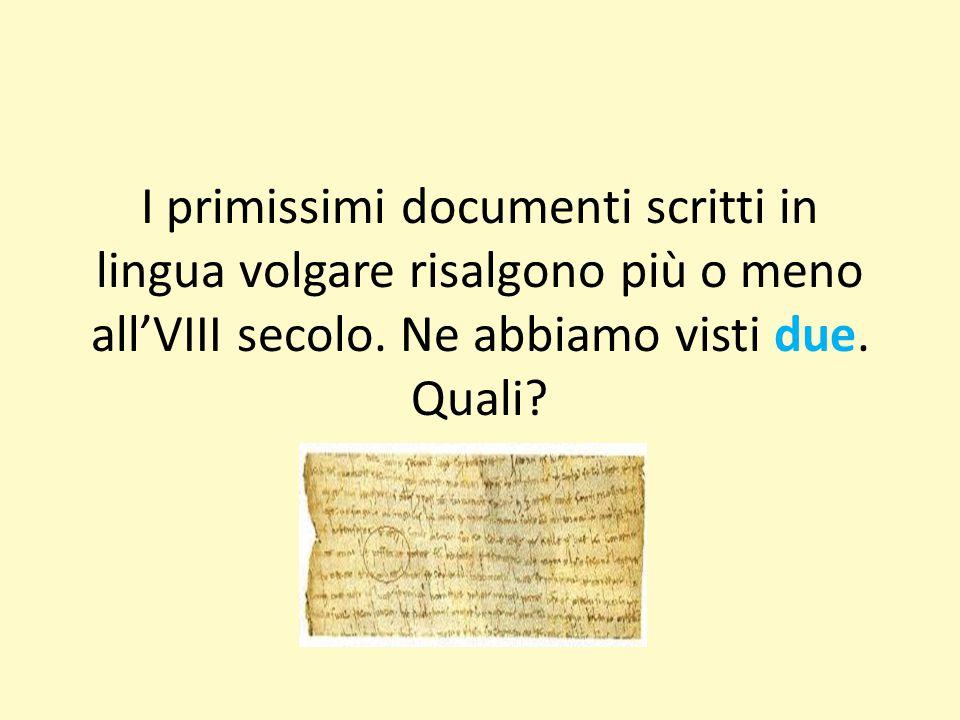 I primissimi documenti scritti in lingua volgare risalgono più o meno all'VIII secolo.