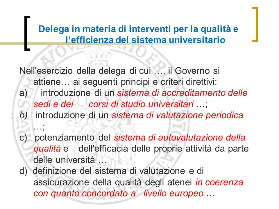 Delega in materia di interventi per la qualità e l'efficienza del sistema universitario