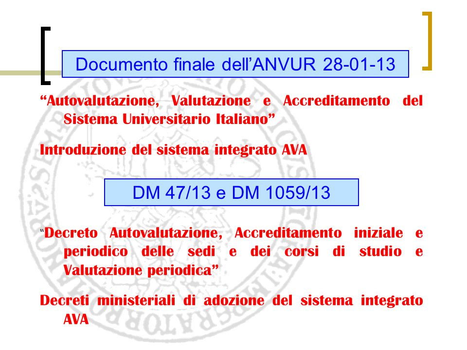 Documento finale dell'ANVUR 28-01-13