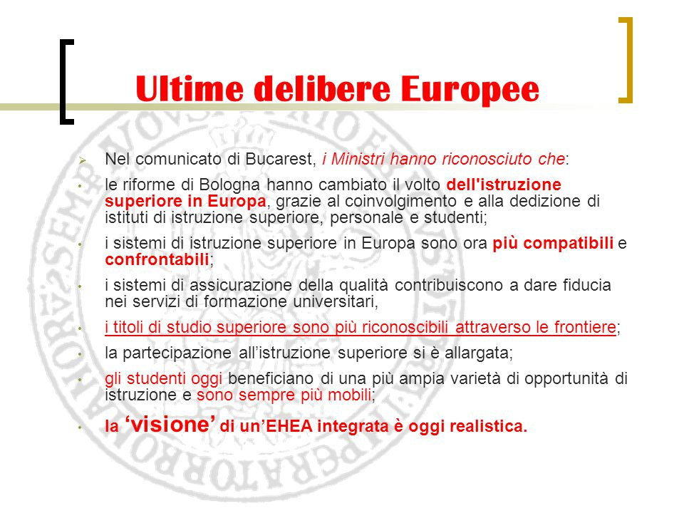 Ultime delibere Europee