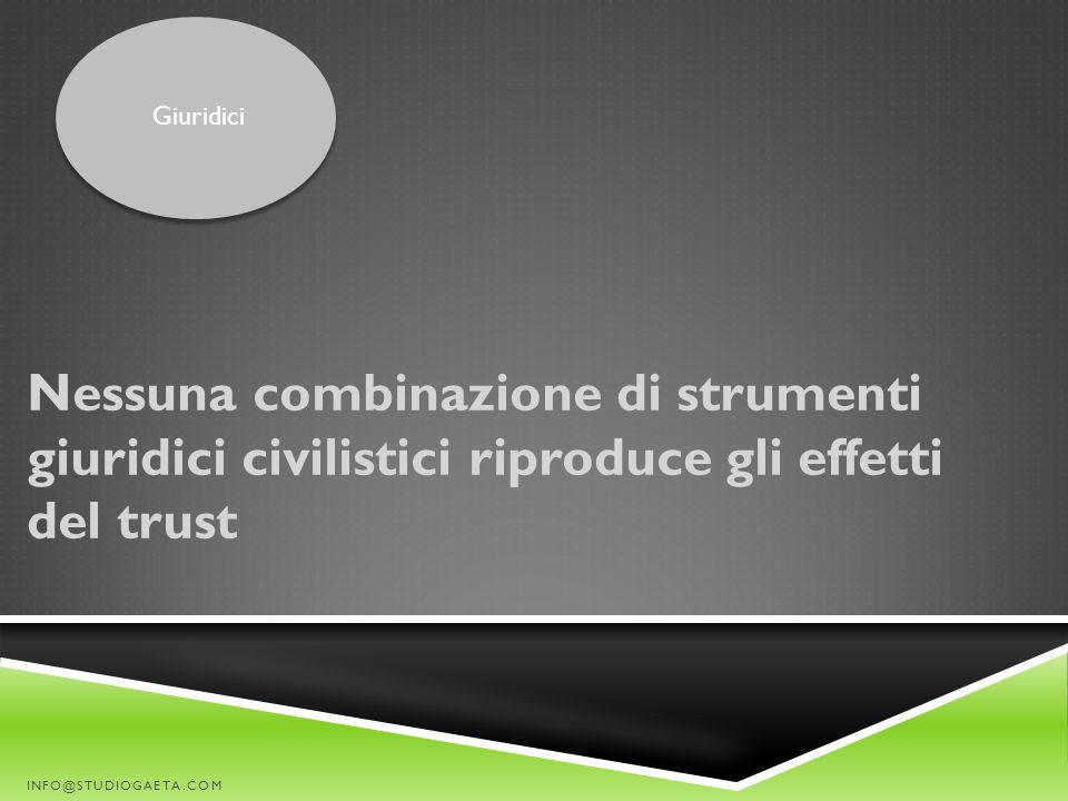 Giuridici Nessuna combinazione di strumenti giuridici civilistici riproduce gli effetti del trust.