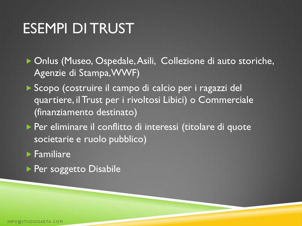 Esempi di trust Onlus (Museo, Ospedale, Asili, Collezione di auto storiche, Agenzie di Stampa, WWF)